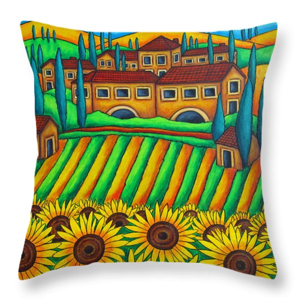 Colours of Tuscany Throw Pillow by Lisa  Lorenz
