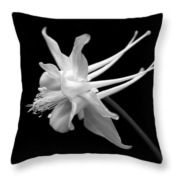 Columbine Flower Portrait Black And White Throw Pillow by Jennie Marie Schell