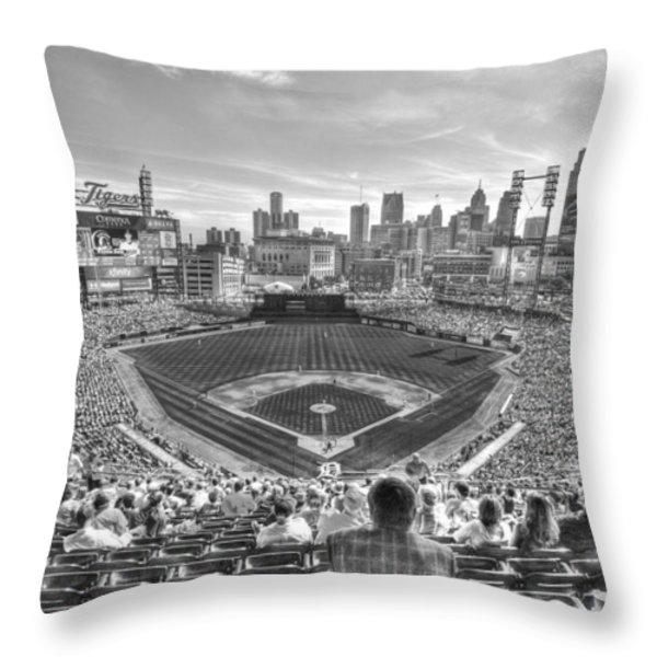 Comerica Park Throw Pillow by Nicholas  Grunas