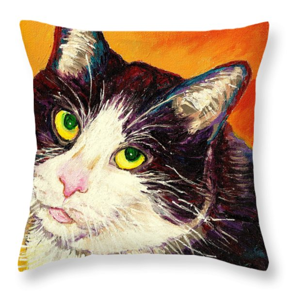 COMMISSION YOUR PETS PORTRAIT BY ARTIST CAROLE SPANDAU BFA ECOLE DES BEAUX ARTS  Throw Pillow by CAROLE SPANDAU