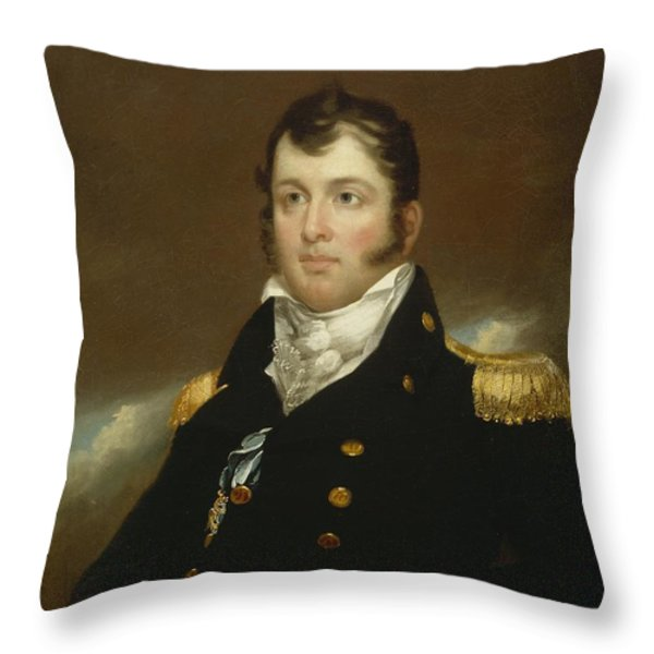 Commodore Oliver Hazard Perry Throw Pillow by John Wesley Jarvis