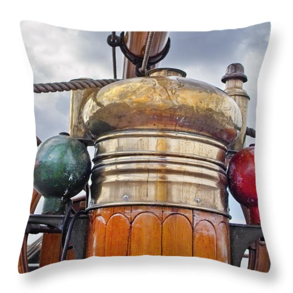 Compass and Wheel Throw Pillow by Robert Lacy