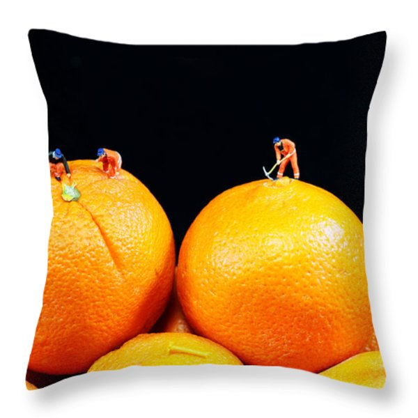 Construction on oranges Throw Pillow by Paul Ge