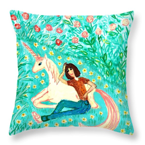 Conversation With A Unicorn Throw Pillow by Sushila Burgess