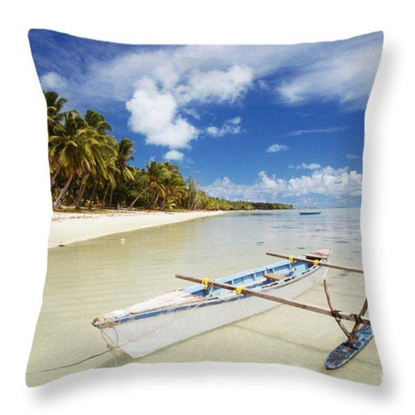 Cook Islands, Aitutaki Throw Pillow by Bob Abraham - Printscapes