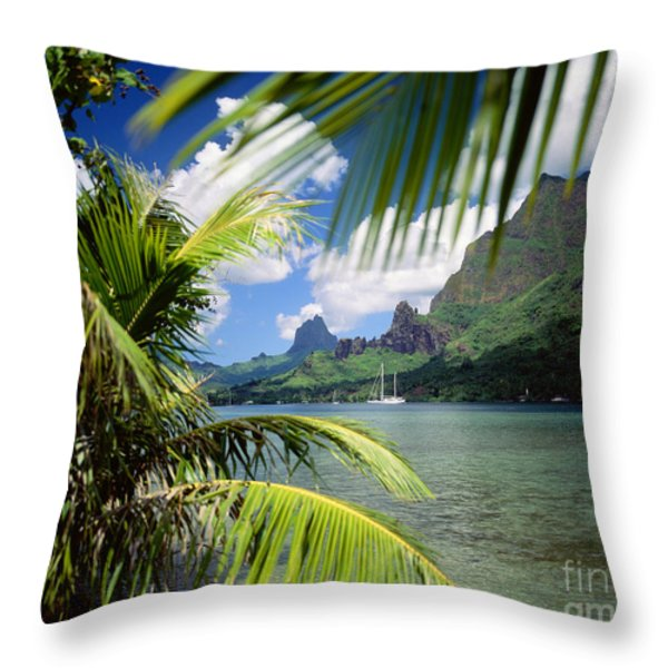 Cooks Bay With Sailboat Throw Pillow by Ron Dahlquist - Printscapes