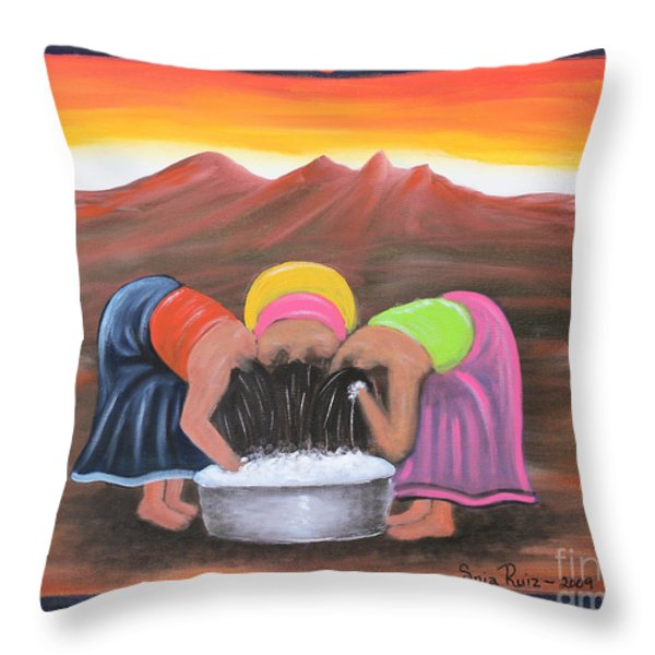 Cooling Off Throw Pillow by Sonia Flores Ruiz