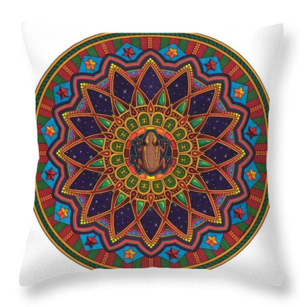 Coqui Mandala Throw Pillow by Daniel Ramirez