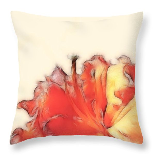 Coral Rhododendron Throw Pillow by Lynn Bolt