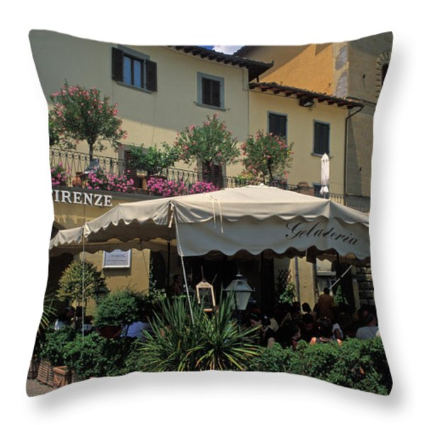 Corner Gelateria Throw Pillow by Kathy Yates