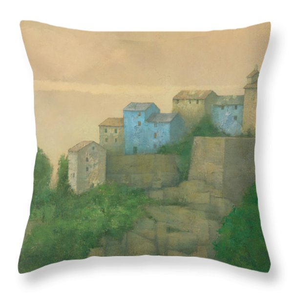 Corsican Hill Top Village Throw Pillow by Steve Mitchell