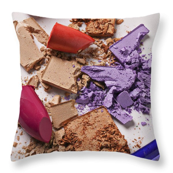 Cosmetics Mess Throw Pillow by Garry Gay