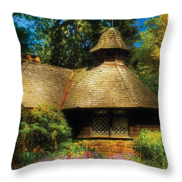 Cottage - A Little Dutch House Throw Pillow by Mike Savad