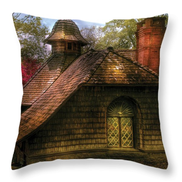 Cottage - Sweet Old Lady House Throw Pillow by Mike Savad