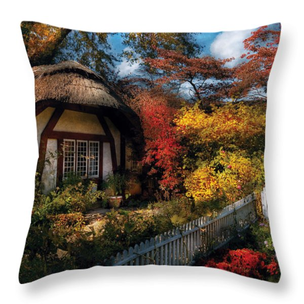 Cottage - Grannies Cottage Throw Pillow by Mike Savad