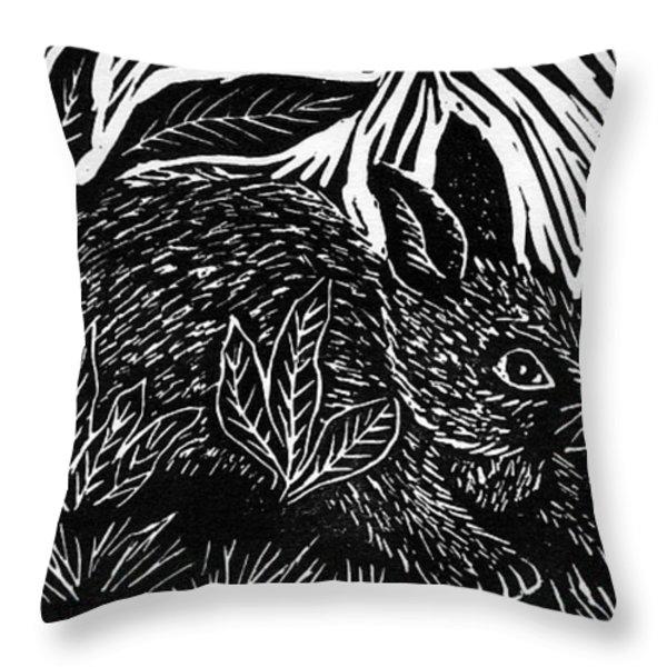 Cottontail block print Throw Pillow by Ellen Miffitt