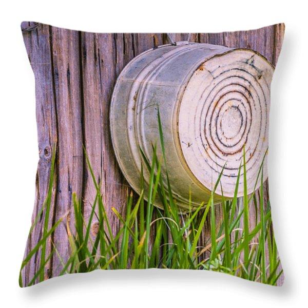 Country Bath Tub Throw Pillow by Carolyn Marshall