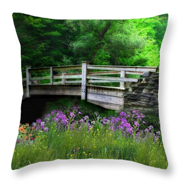 Country Bridge Throw Pillow by Lori Deiter