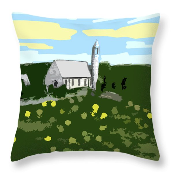 Countryside Church Throw Pillow by Patrick J Murphy