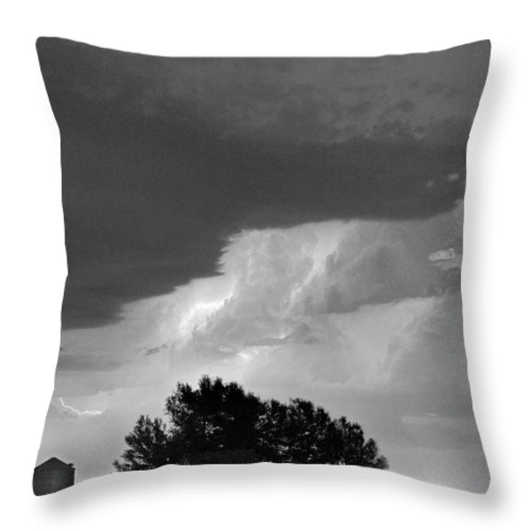 County Line Northern Colorado Lightning Storm BW Throw Pillow by James BO  Insogna