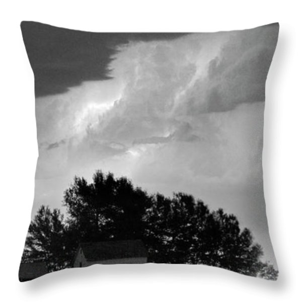 County Line Northern Colorado Lightning Storm BW Pano Throw Pillow by James BO  Insogna
