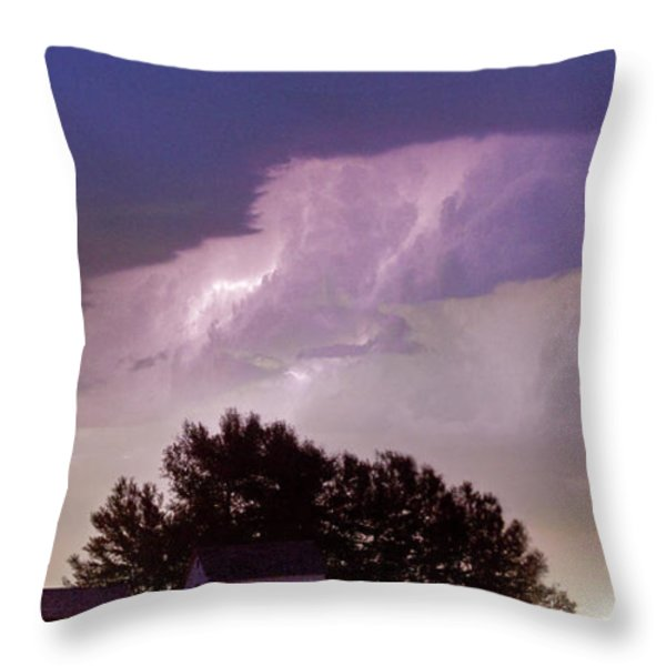 County Line Northern Colorado Lightning Storm Panorama Throw Pillow by James BO  Insogna