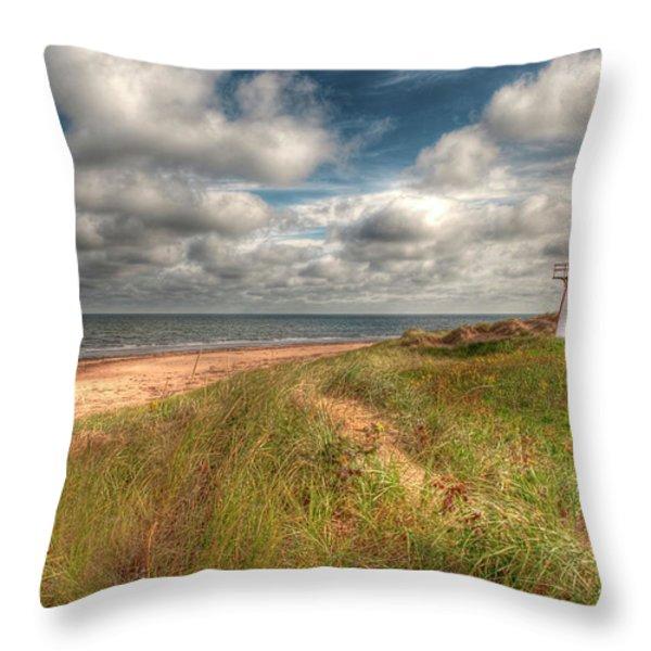 Covehead Lighthouse Throw Pillow by Elisabeth Van Eyken