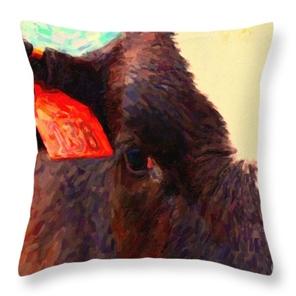 Cow 138 Reinterpreted Throw Pillow by Wingsdomain Art and Photography