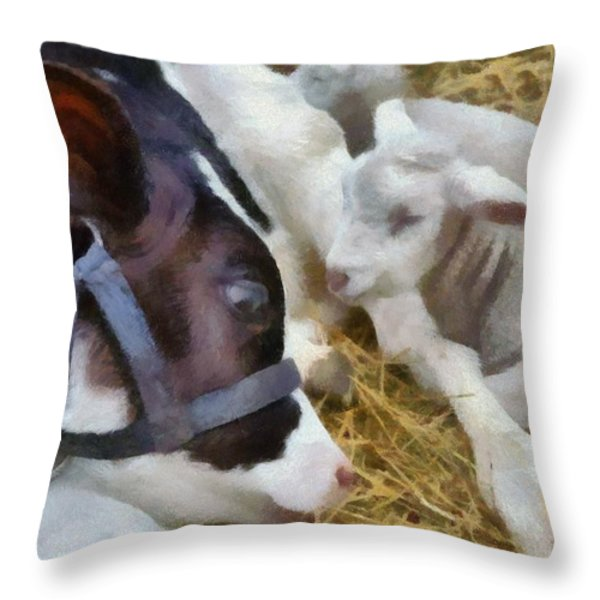 Cow And Lambs Throw Pillow by Michelle Calkins