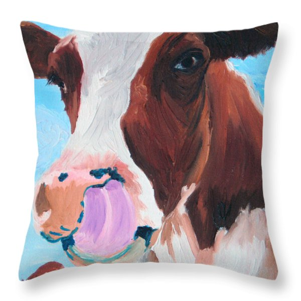 Cow Picking His Nose Throw Pillow by Michael Lee
