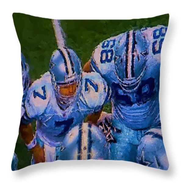 Cowboy Huddle Throw Pillow by Steven Richardson