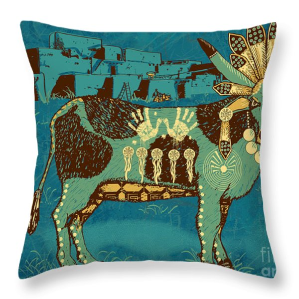 Cowchina Throw Pillow by Laura Brightwood