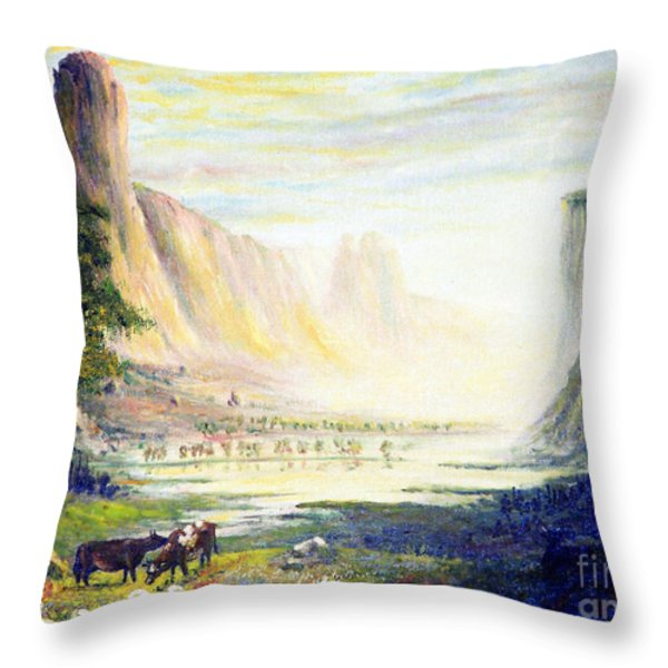 Cows in the Mountain Throw Pillow by Wingsdomain Art and Photography
