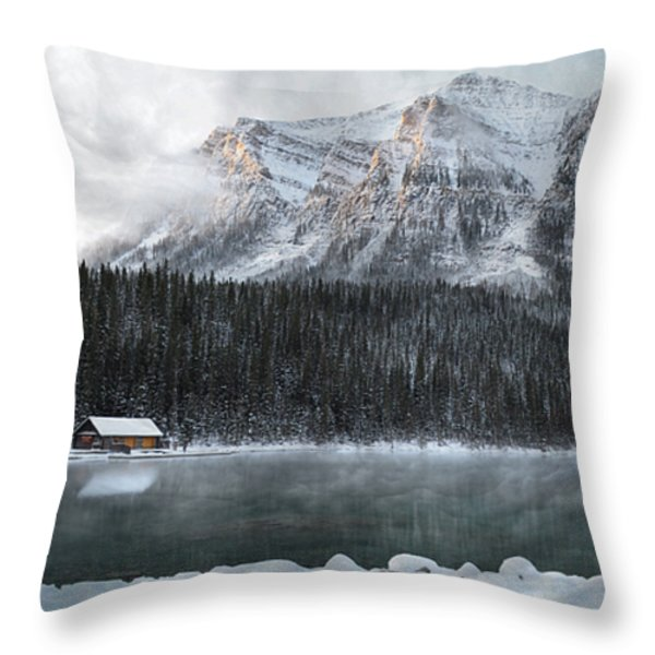 Cozy Cabin Morning Throw Pillow by Andrea Hazel Ihlefeld