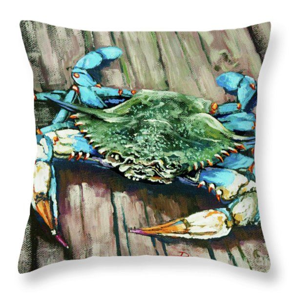 Crabby Blue Throw Pillow by Dianne Parks