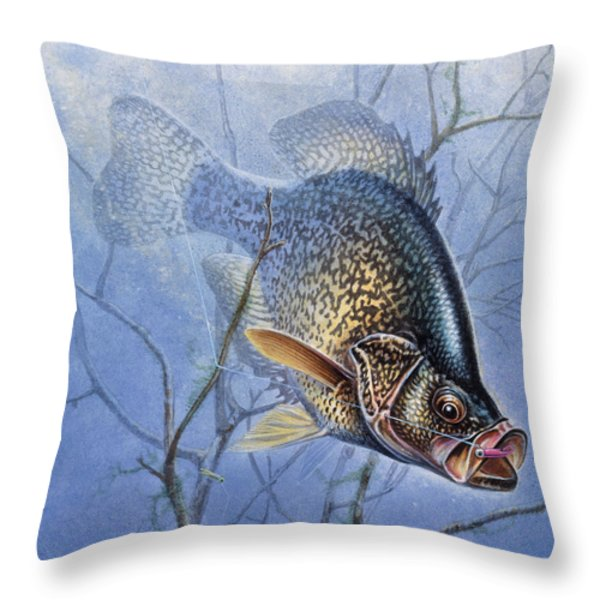 Crappie Cover Tangle Throw Pillow by JQ Licensing