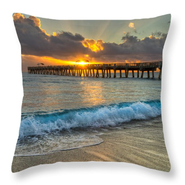 Crashing Waves At Sunrise Throw Pillow by Debra and Dave Vanderlaan