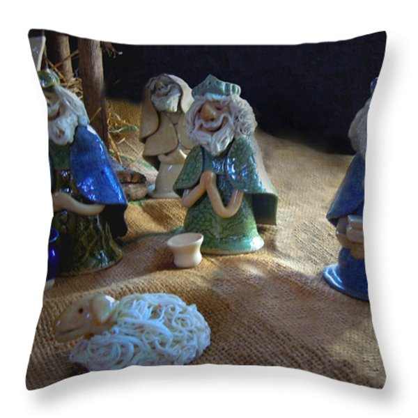 Creche Kings Throw Pillow by Nancy Griswold