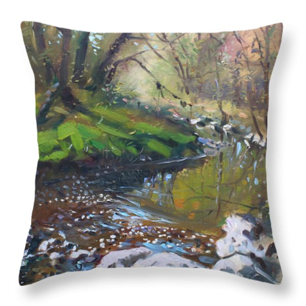Creek in the Woods Throw Pillow by Ylli Haruni