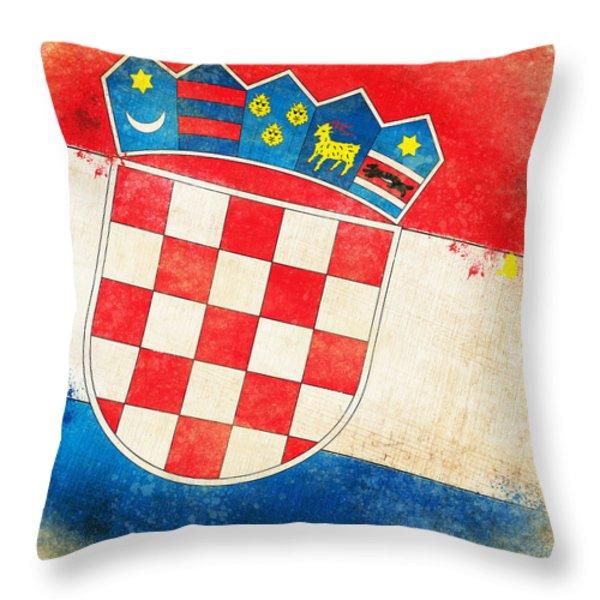 Croatia Flag Throw Pillow by Setsiri Silapasuwanchai