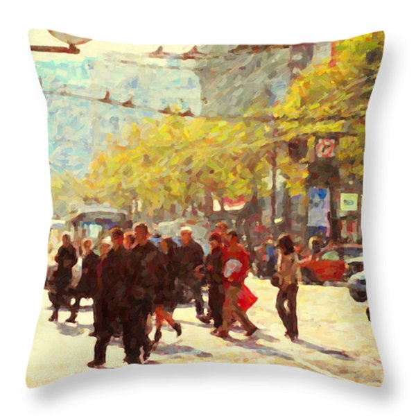 Crossing San Francisco Market Street Throw Pillow by Wingsdomain Art and Photography