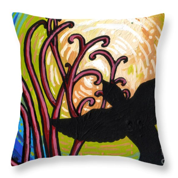 Crow And Full Moon In Winter Throw Pillow by Genevieve Esson