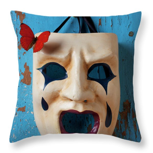 Crying Mask And Red Butterfly Throw Pillow by Garry Gay