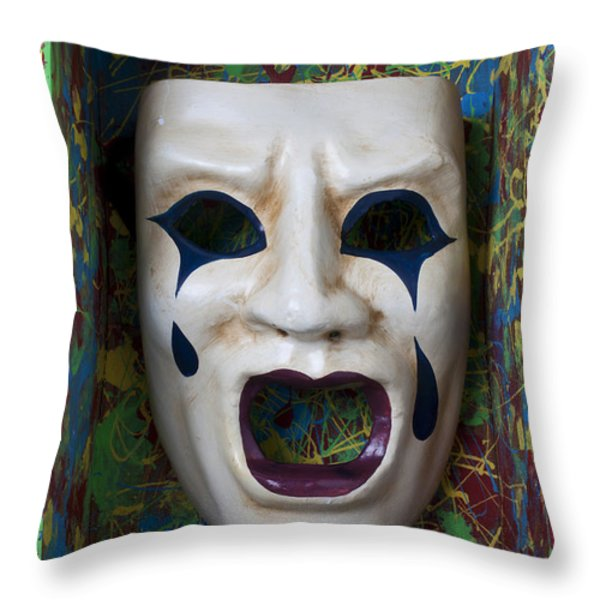 Crying mask in box Throw Pillow by Garry Gay