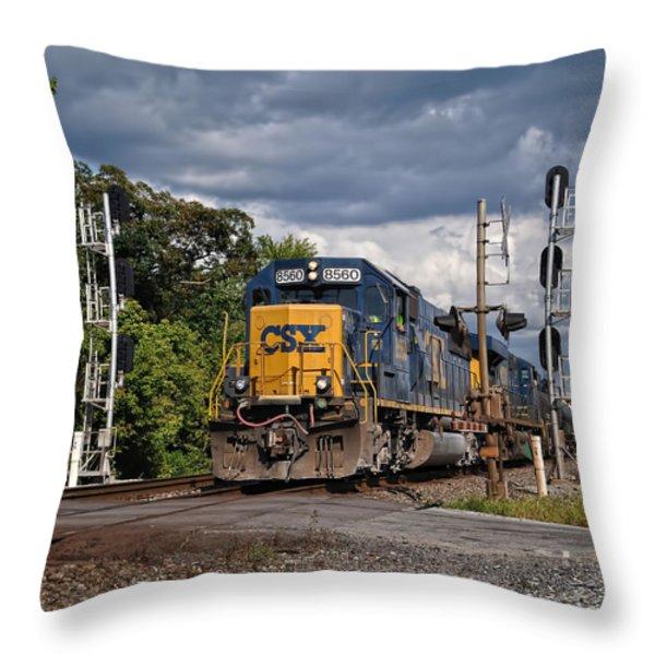 Csx Train Headed West Throw Pillow by Pamela Baker