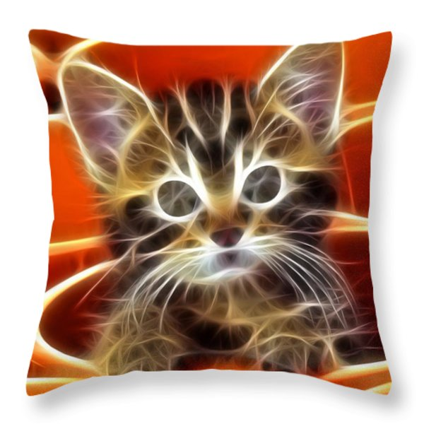 Curious Kitten Throw Pillow by Pamela Johnson
