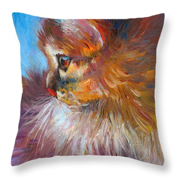 Curious Tubby Kitten painting Throw Pillow by Svetlana Novikova