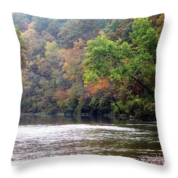 Current river Fall Throw Pillow by Marty Koch