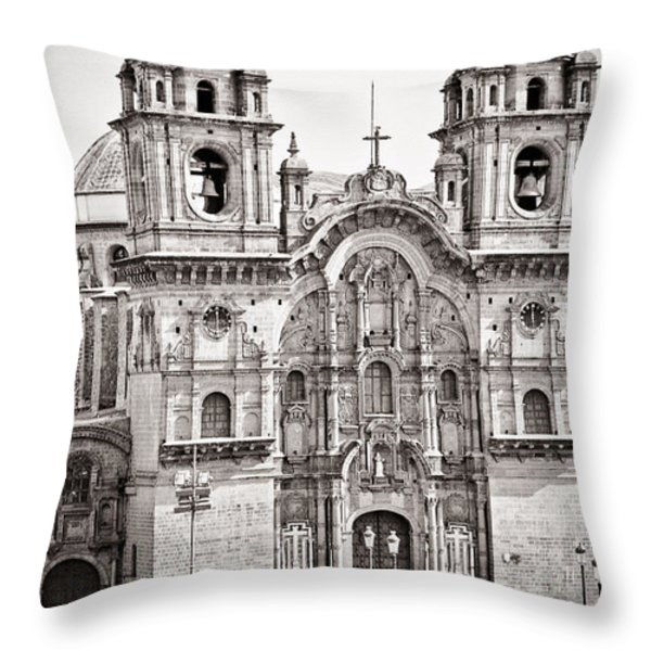 Cusco Cathedral Throw Pillow by Darcy Michaelchuk