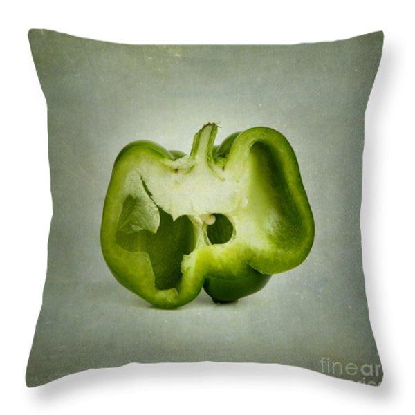 Cut green bell pepper Throw Pillow by BERNARD JAUBERT